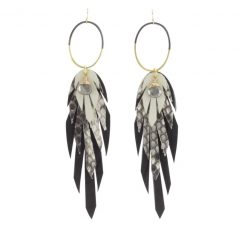 black white feather Pluma Vivo Earrings by bohemi