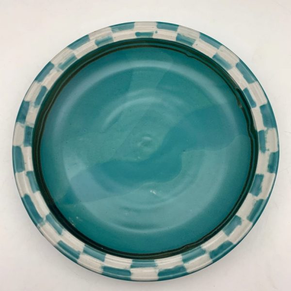 White and Turquoise Checked Plate by Margo Brown