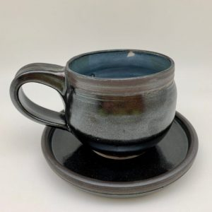 Porcelain Espresso Cup and Saucer by Margo Brown black blue