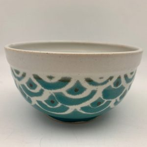 Turquoise and White Bowl by Margo Brown