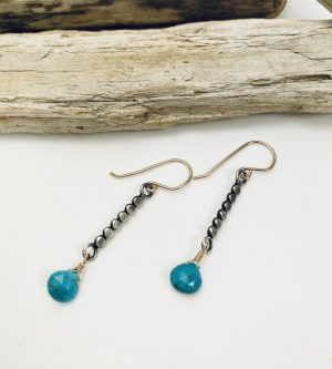 oxidized sterling silver and goldfill earring with turquoise by Laura J Designs
