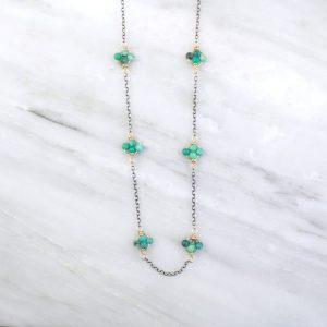 Turquoise Mixed Metal Satellite Necklace Sarah Deangelo