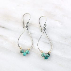 Turquoise Wrapped Teardrop Mixed Metal Hoop Earrings Sarah Deangelo