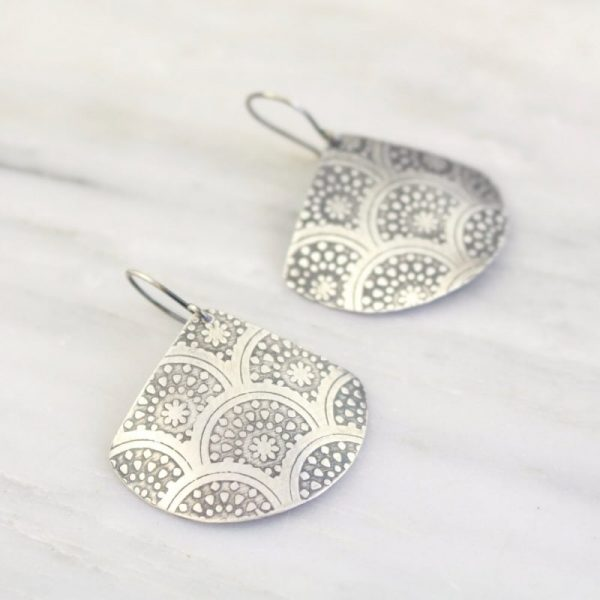 Scalloped Stars Printed Silver Fan Earrings Sarah Deangelo