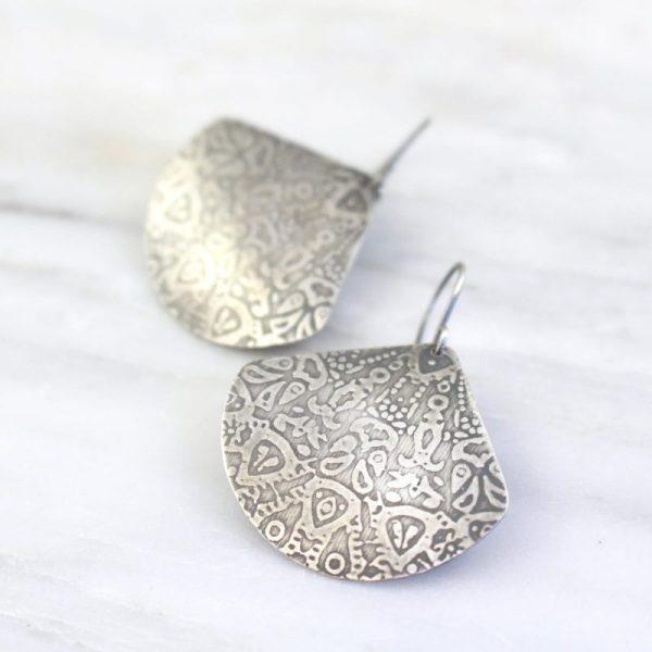 Antique Lace Silver Fan Earrings Sarah Deangelo