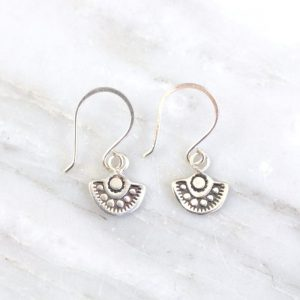Wanderer Mini Stamped Silver Earrings Sarah Deangelo