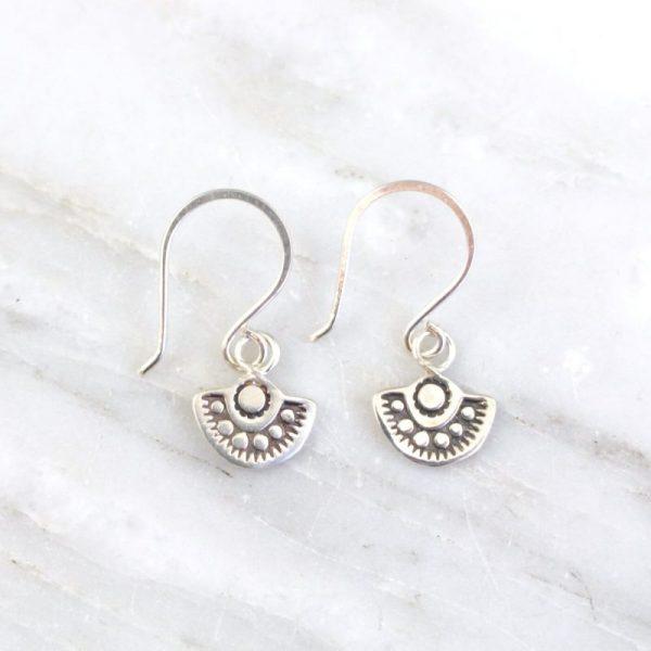 Wanderer Mini Stamped Silver Earrings Sarah Deangelo