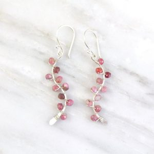 Pink Tourmaline Wrapped Vine Silver Earrings Sarah Deangelo