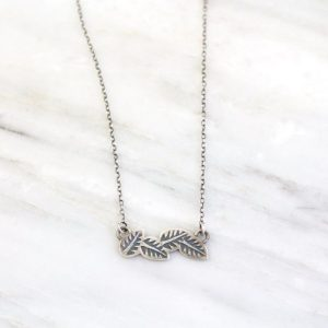 Stamped Leaves Garland Bar Necklace Sarah Deangelo