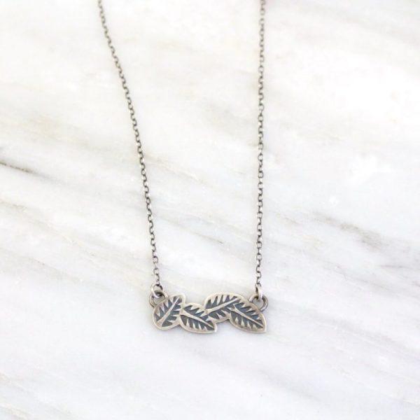 Stamped Leaves Garland Bar Necklace Sarah Deangelo
