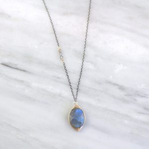 Wrapped Labradorite Oval Mixed Metal Necklace Sarah Deangelo