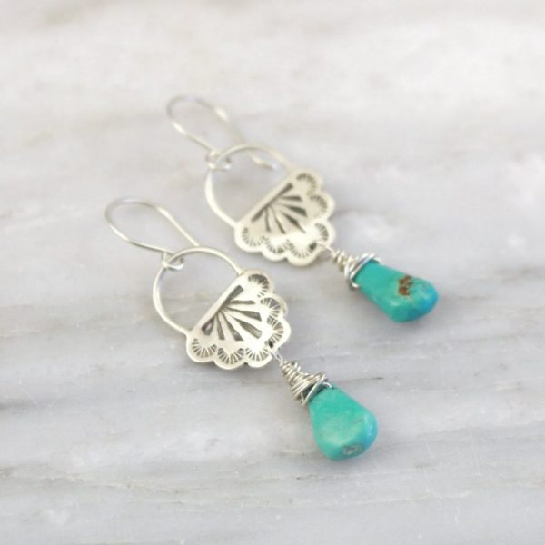 Navajo Lace Turquoise Drop EarringsNavajo Lace Turquoise Drop Earrings Sarah Deangelo