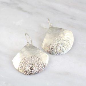 Teardrop Mandala Hammered Earrings Sarah Deangelo