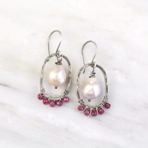 Oval Hoop with Ruby and Akoya Pearl Earrings Sarah Deangelo