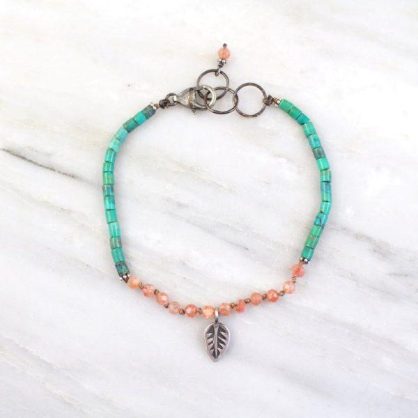 Leaf Sunstone and Turquoise Mini Charm Bracelet Sarah Deangelo