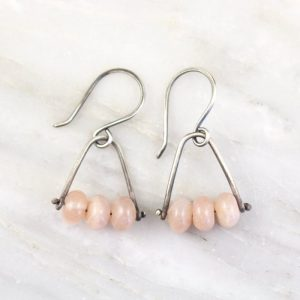 Pinned Peach Moonstone Earrings Sarah Deangelo