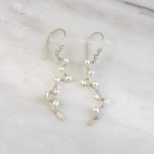Pearl Wrapped Silver Vine Earrings Sarah Deangelo