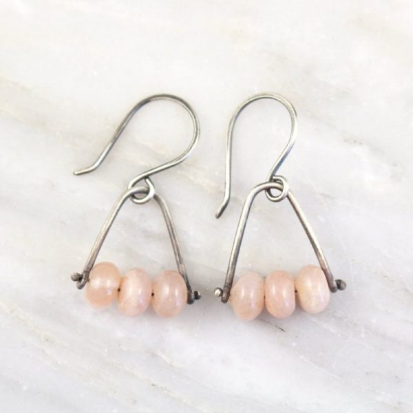 Pinned Peach Moonstone Earrings Sarah Deangelo