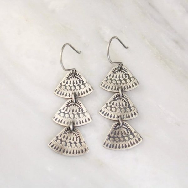 Asmi Trio Triangle Silver Earrings Sarah Deangelo
