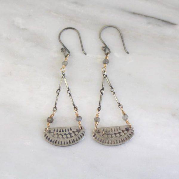 Asmi Chandelier Labradorite Mixed Metal Earrings Sarah Deangelo