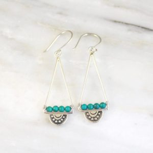 Wanderer Open Triangle Turquoise Earrings by Sarah DeAngelo
