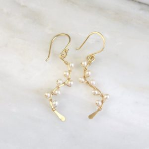 Pearl Wrapped Vine Gold Earrings Sarah Deangelo