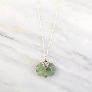 Southwest Triangle Capped Prehnite Silver Necklace Sarah Deangelo
