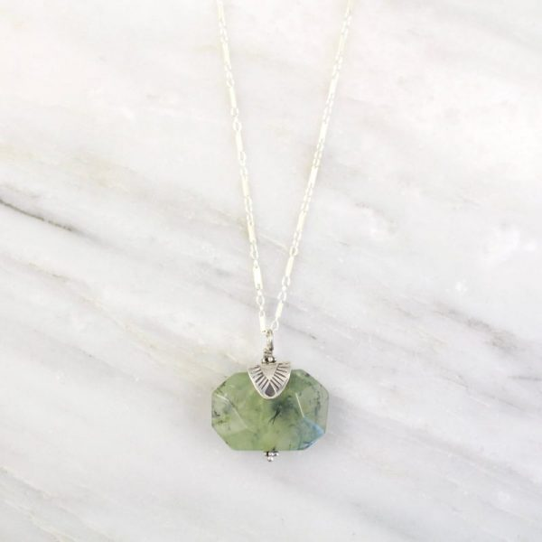 Navajo Triangle Capped Prehnite Silver Necklace Sarah Deangelo