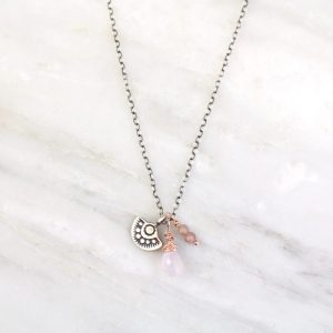 Wanderer Mini Charm Rose and Peach Necklace by Sarah DeAngelo
