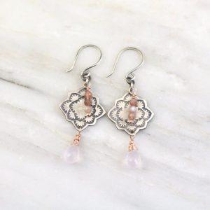 Desert Rose Mandala Peach Moonstone and Rose Quartz Earrings Sarah Deangelo