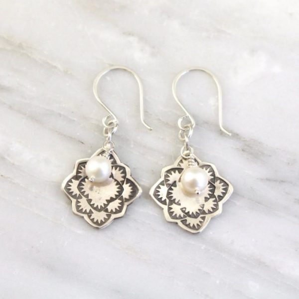 Desert Rose Pearl Earrings Sarah Deangelo