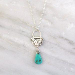 Navajo Lace Turquoise Drop Necklace Sarah Deangelo