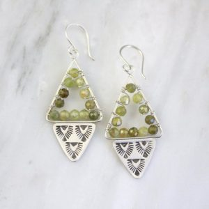 Navajo Triangle Wrapped Green Garnet Earrings Sarah Deangelo