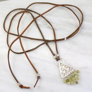 Southwest Triangle Fringe Green Garnet Leather Necklace Sarah Deangelo