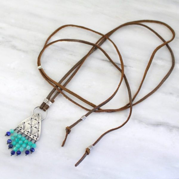 Navajo Triangle Amazonite and Lapis Leather Necklace Sarah Deangelo