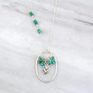 Thunderbird Turquoise Cluster Long Necklace Sarah Deangelo