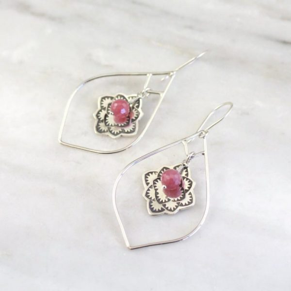 Framed Desert Rose Ruby Earrings Sarah Deangelo