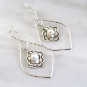 Framed Desert Rose Pearl Earrings Sarah Deangelo