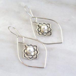 Framed Desert Rose Pearl Earrings Sarah Deangelo