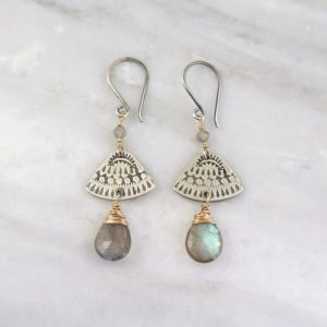 Asmi Triangle Mixed Metal Labradorite Earrings Sarah Deangelo