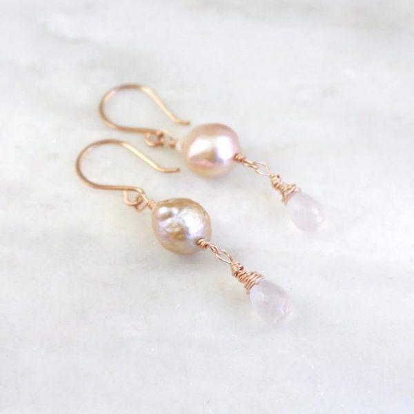 Akoya Pearl and Rose Quartz Wrapped Earrings Sarah Deangelo