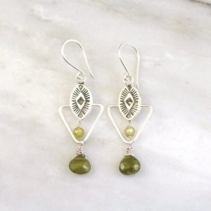 Southwest Triangle Green Garnet Dangle Earrings Sarah Deangelo