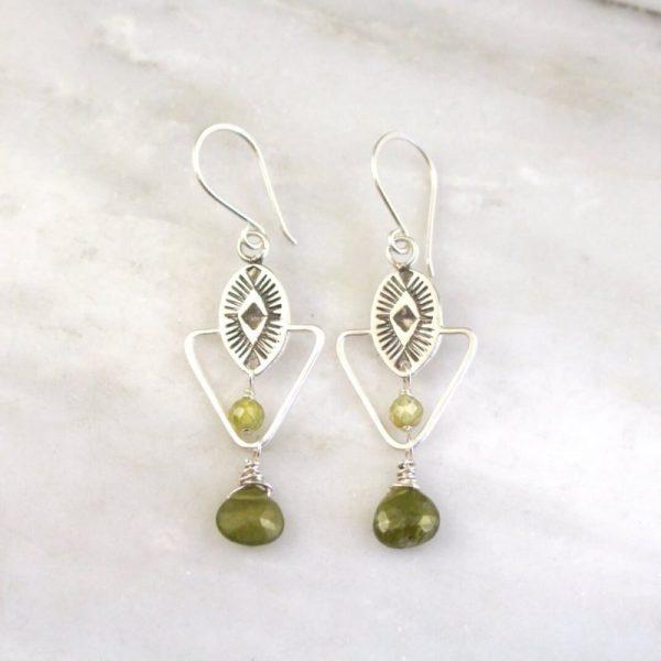 Southwest Triangle Green Garnet Dangle Earrings Sarah Deangelo