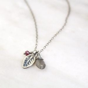 Leaf Charm with Labradorite and Ruby Necklace Sarah Deangelo
