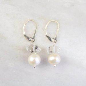 Stacked Herkimer Diamond and Pearl Earrings Sarah Deangelo