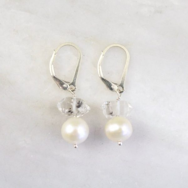 Stacked Herkimer Diamond and Pearl Earrings Sarah Deangelo