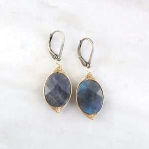 Wrapped Labradorite Oval Mixed Metal Earrings Sarah Deangelo