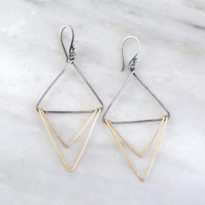 Mixed Metal Triple Triangle Hoop Earrings Sarah Deangelo