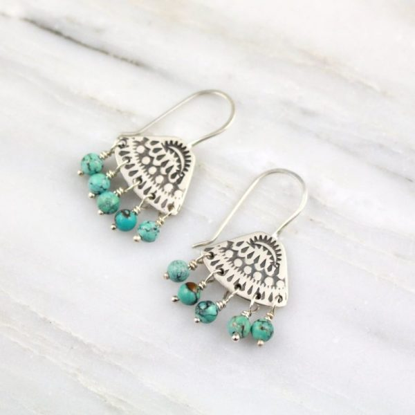 Asmi Triangle Dangle Turquoise Earrings Sarah Deangelo
