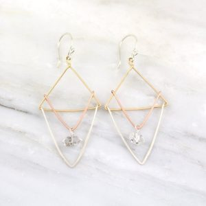 Triple Layered Triangle Herkimer Diamond Earrings Sarah Deangelo